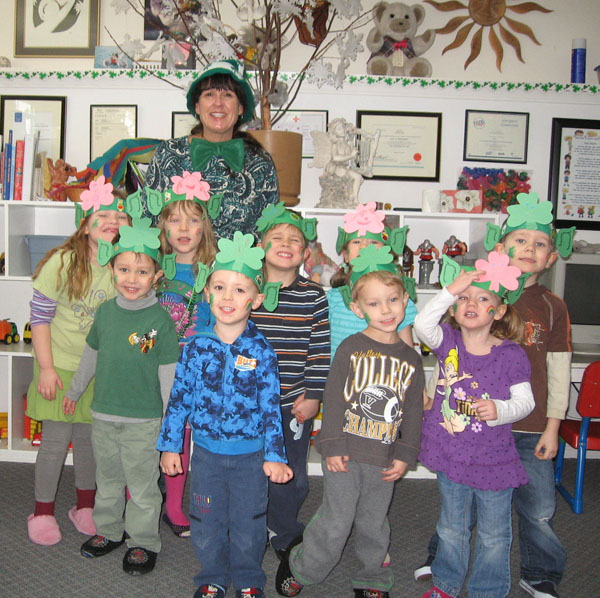 Children dressed up for saint Patricks Day